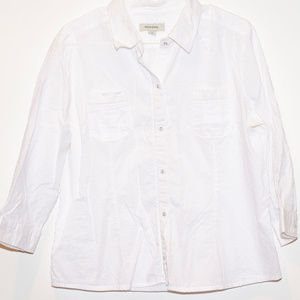 Merona White Button Down 3/4 Sleeve w/Polka Dots